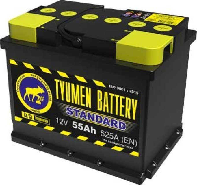 Аккумулятор 6СТ 55 TYUMEN BATTERY STANDARD L 525 A (EN) 242х175х190 конус прямая