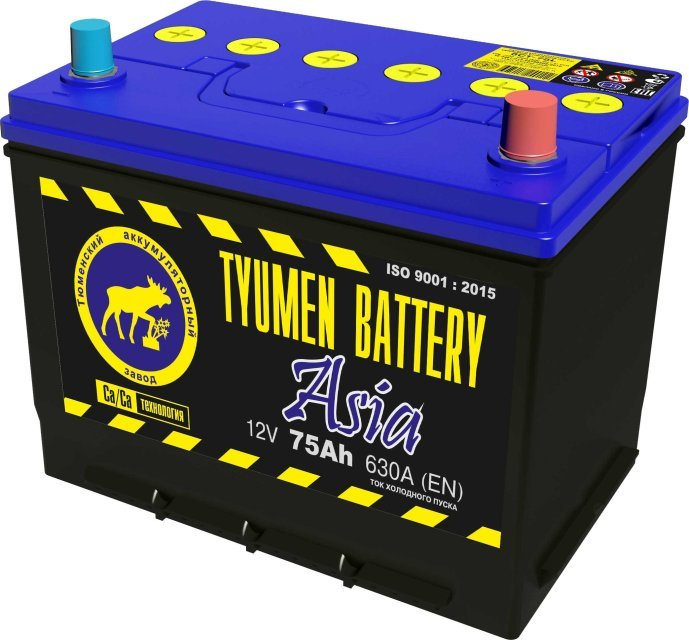Аккумулятор 6СТ 75 TYUMEN BATTERY ASIA L 630 A (EN) 266х173х220 конус обратная