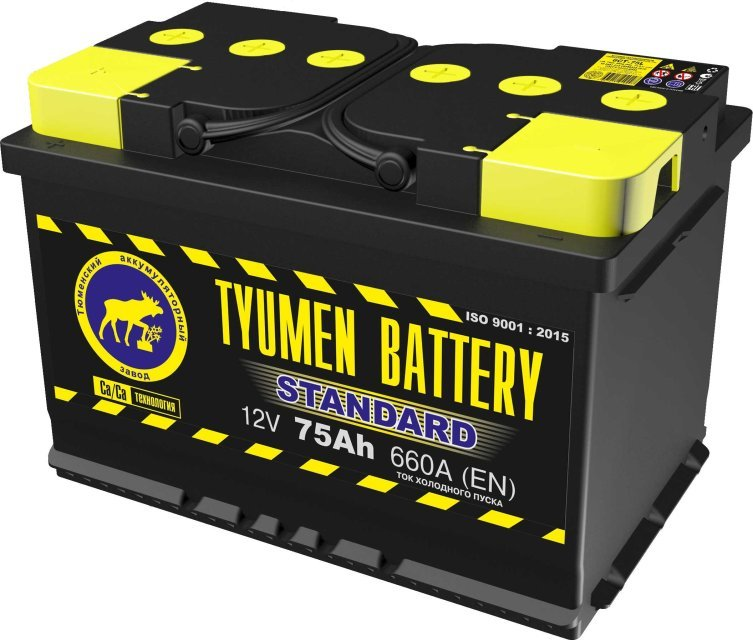 Аккумулятор 6СТ 75 TYUMEN BATTERY STANDARD L 660 A (EN) 278х175х190 конус обратная