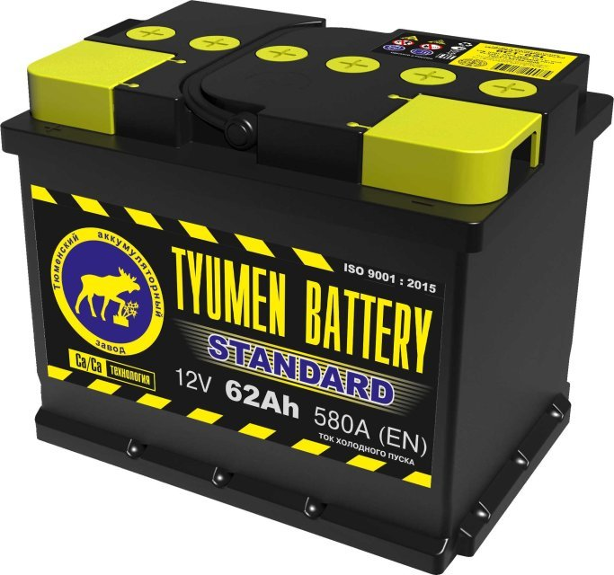 Аккумулятор 6СТ 62 TYUMEN BATTERY STANDARD L 580 A (EN) 242х175х190 конус обратная