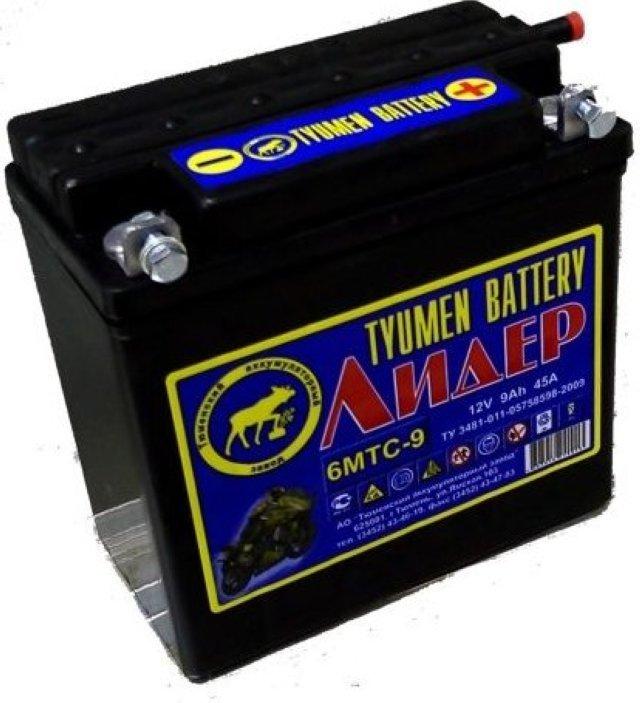Аккумулятор Аккумулятор Мото TYUMEN BATTERY  6МТС - 9 Лидер 140*77*135 45А болт 6 TYUMEN BATTERY Мот