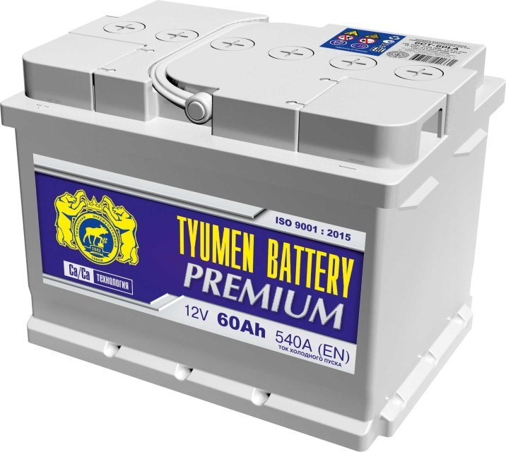 Аккумулятор 6СТ 60 TYUMEN BATTERY PREMIUM LA 540 A (EN) 242х175х175 конус обратная