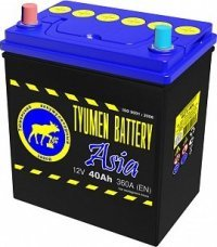 Аккумулятор 6СТ 40 TYUMEN BATTERY ASIA L 370 A (EN) 187х128х223 конус обратная
